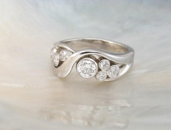 Diamond Ring In 14k White Gold Artisan Handmade Engagement Ring