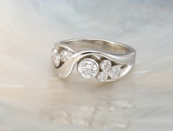 Bezel Set Bubble Diamond Ring In 14k White Gold By RavensRefuge