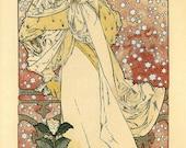 9x19 Vintage French Advertisements Poster. Art nouveau. La Dame Aux Camelias Sarah Bernhard  By Alphonse Mucha - 210