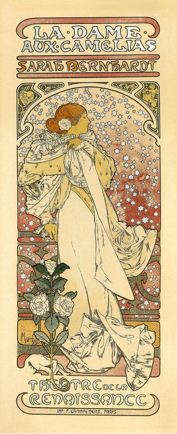 Mucha Vintage French Advertisement Poster. Art nouveau print reproduction. La Dame Aux Camelias Sarah Bernhard  By Alphonse Mucha - CP304