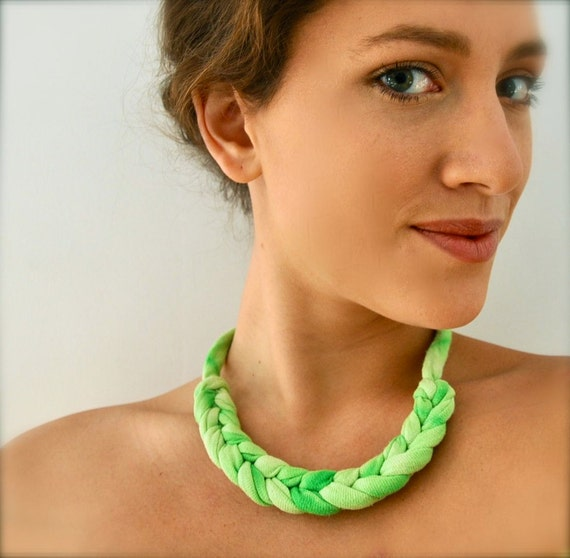 Neon Green Ombre Necklace -  Knotted Rope Statement Jewelry Braided