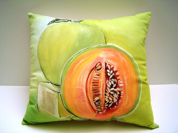SALE Cantaloupe On Lime Pillow - 13x14 Hand Painted Cantaloupe Melon Lime Green Kitchen Decor ART