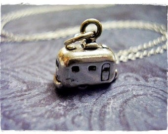 Silver Camper Necklace - Sterling Silver Camper Charm on a Delicate Sterling Silver Cable Chain or Charm Only
