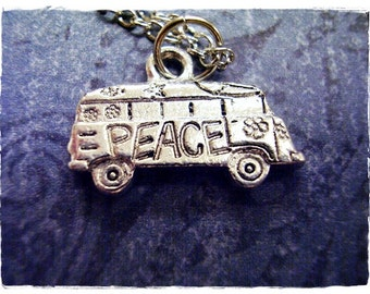 Silver Hippy Van Necklace - Silver Pewter Hippy Van Charm on a Delicate Silver Plated Cable Chain or Charm Only