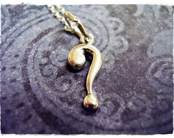 Tiny Question Mark Necklace - Sterling Silver Question Mark Charm on a Delicate 18 Inch Sterling Silver Cable Chain