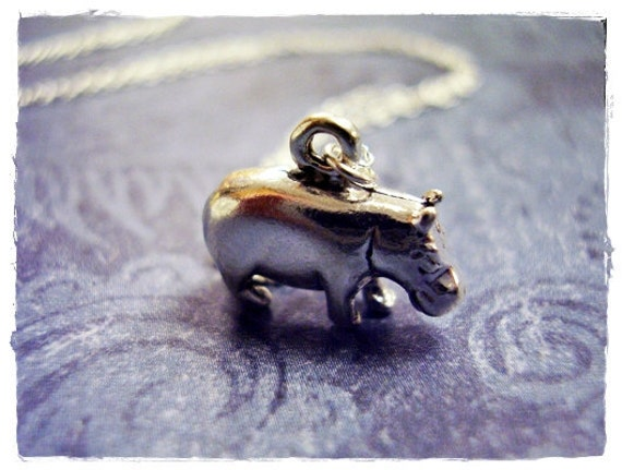 Silver Hippo Necklace - Sterling Silver Hippo Charm on a Delicate 18 Inch Sterling Silver Cable Chain