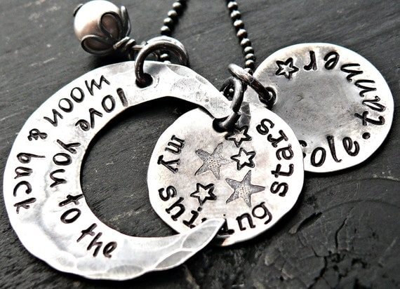 Personalized Necklace I Love You To The Moon and Back - Hand Stamped Moon Necklace - Jewelry for Mom