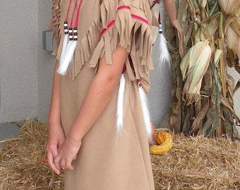Native American inspired  Indian Girl pretend dress up fun  Costume for children sizes through 12 years old