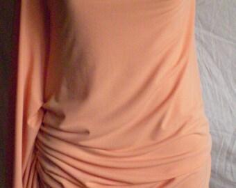 Peach Side Drape Dress/ruche on side/slight cowl/knee length/custom made by Cheryl Johnston