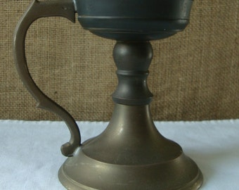 ANTIQUE BRASS Lamp Candle Holder Gothic Lamp Candelabra Taper Candle Holder With Handle Made in India Aged Brass With Patina Dickens Style