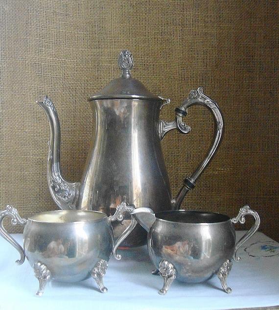 VINTAGE VICTORIAN Elegance Silverware Coffee Tea Service With Cream and Sugar