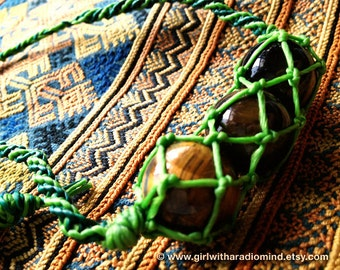 Boho Macrame Necklace OOAK with Brown Tiger Eye's Stones Triplet in Forest Green Weave  - Free Spirited Bohemian Accessory