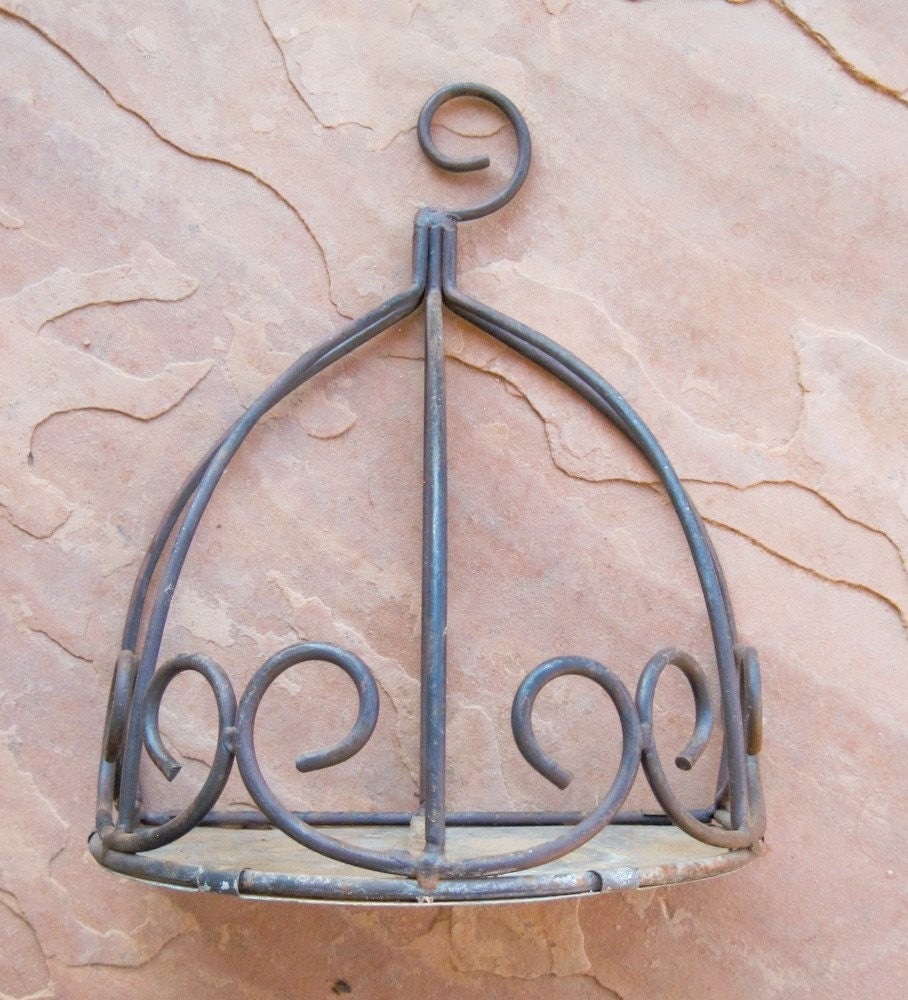 Vintage Rustic Iron Wall Sconce Plant Holder Rusted and Rustic