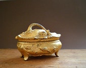 Gold Jewelry Box, Antique Jewelry Casket,  Art Nouveau  Gift Box