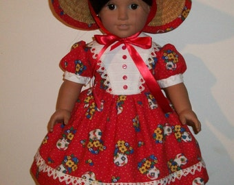 American Made 18inch Doll Dress - 1850's Historical Girls Garden Walking Outfit