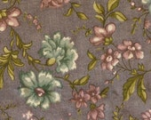 1/2 YARD, Blue Green Gray Floral Print, Quilting Cotton Fabric, Marcus Bros, Violet Flowers, B14