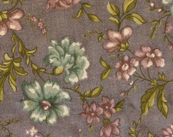 Blue Green Gray Floral Print, Quilting Cotton Fabric, Marcus Bros, Violet Flowers, half yard, B14