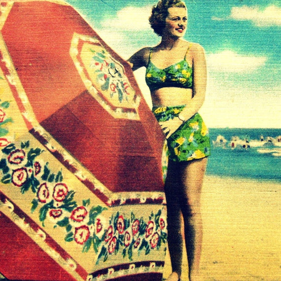 1930's girl with umbrella photograph, Art Deco art, beach art, coastal wall art, art deco wall art, coastal art 12x12 20x20, aqua crimson