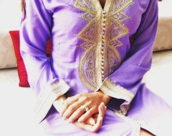 Lilac  Moroccan Caftan Kaftan - Lella-Perfect as loungewear,resortwear, beach cover ups, Honeymoon or Maternity Gifts