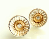 Corrugated Silver Post Earrings - Silver And Gold Filled Stud Earrings 13mm - Versatile Wedding Earrings - Silver Jewelry - Venexia Jewelry