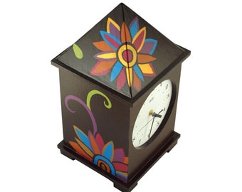 FREE SHIPPING - Clock handpained, Big clock, Decorative clock, Unique gift, Wooden clock, Gold Flowers - Huge 15 inch height,