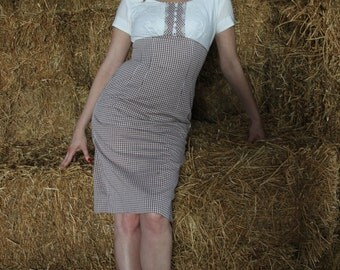 Vintage 50s empire waist gingham wiggle dress - small