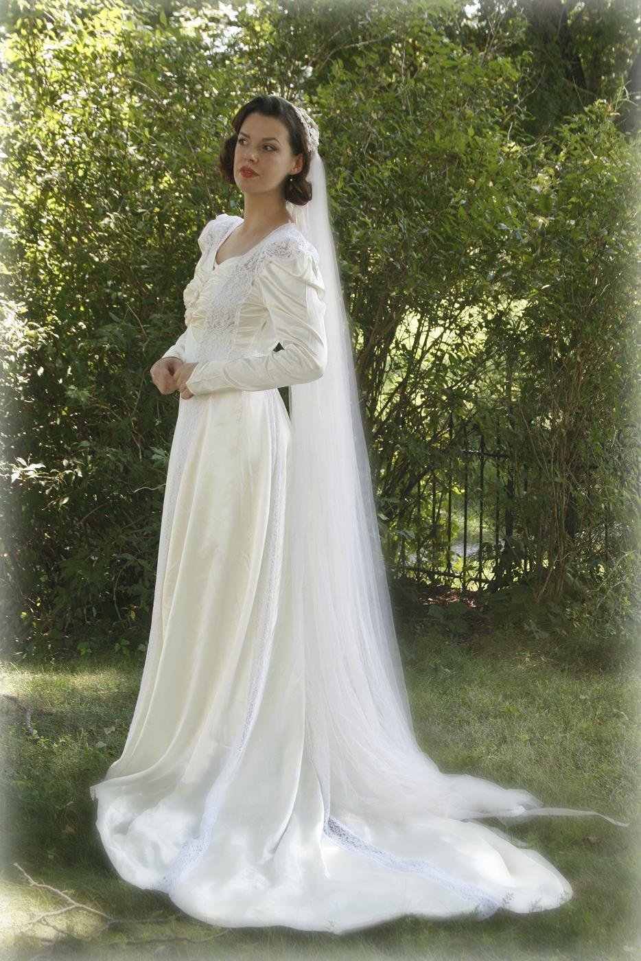 Items similar to vintage 40s satin wedding dress 1940s for Vintage satin wedding dresses