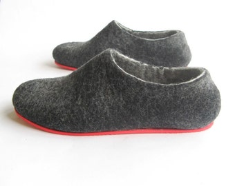 Felted Wool Eco Friendly Slippers Charcoal Handmade, Rubber Soles Mens Felt Shoes, Organic Wool Natural Cozy Slippers, Gray Black Slippers