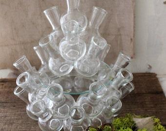 vintage glass stacking bud vases