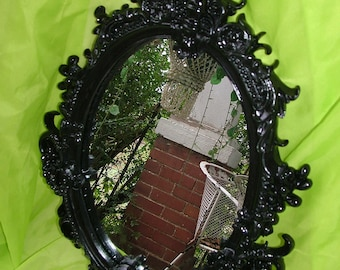 Black Mirror, Ornate  Mirror, Oval Wall Mirror  ,Curvy Mirror, Choose Color, Size 27 x 18 1/2
