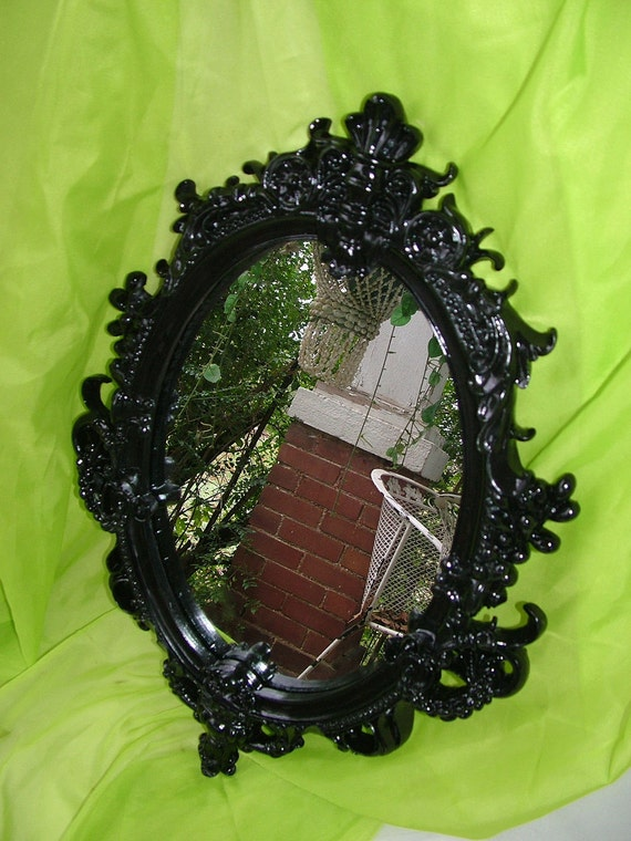 Black Ornate  Oval Wall Mirror 26 x 18 Heavy Resin Plaster OR CHALKBOARD No Extra Charge