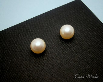 Pearl Stud Earrings In 14K Gold Filled With 8mm Cream Swarovski Crystal Pearls