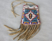 Old Sioux Beaded Strike a Light Fire Pouch w/ Tin Cones & Stepped Diamond Motif