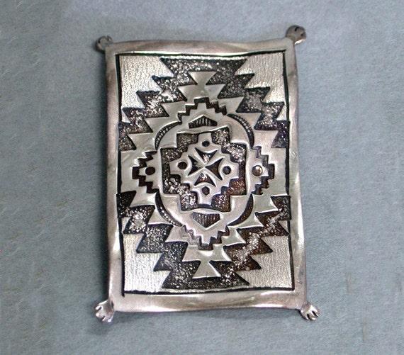 Sterling Silver Stamped Navajo Rug Weaving Pin