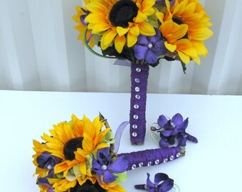 4 piece Wedding bouquet set - Sunflower bouquets, Purple orchid Silk wedding flowers