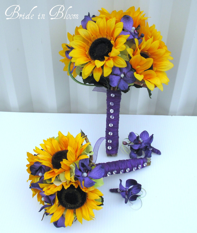 4 Piece Wedding Bouquet Set Sunflower Bouquets Purple