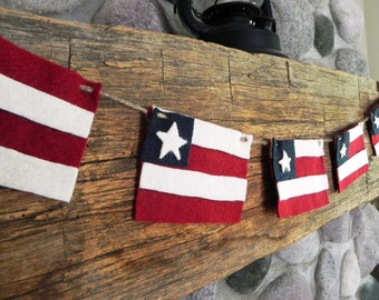 Hooray for the Red, White and Blue-extended length--A Decorative Felt Folk American Flag Banner for the Patriotic Home