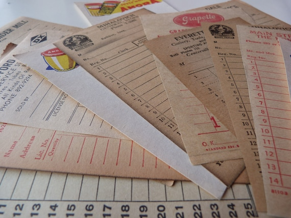 SALE 10 Vintage receipts  from past - Blank, never used