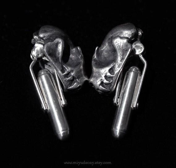 Sterling Silver Bat Skull Cufflinks