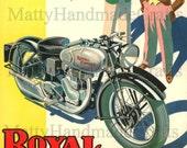 Silver Bullet, Royal Enfield, Motorcycle, 1930s Advertising Print
