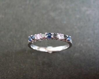 Black Diamond, Blue Sapphire, Pink Sapphire Wedding Ring 14K White Gold, Wedding Band, Diamond Engagement Ring, Black Ring, Thin Ring