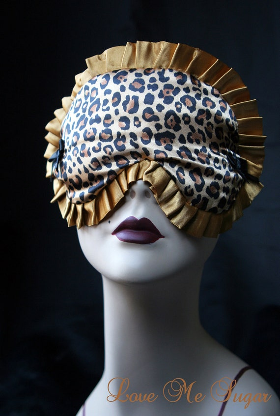 Cheetah Sleep mask eye mask in Gold Satin and Black Burlesque - Marlene  by Love Me Sugar