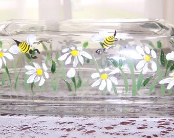 Daisy Bumble Bee Butter Dish, Hand Painted