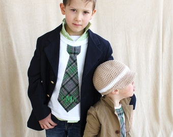 St Patrick's Day Personalized Green Plaid Boys Tie T-Shirt. Any Name or Monogram Embroidered. Plaid Ring Bearer. Tie Outfit