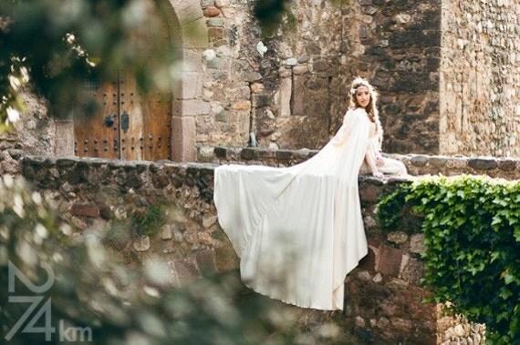 Wedding cape bridal cloak white ivory satin cape with hood handfasting