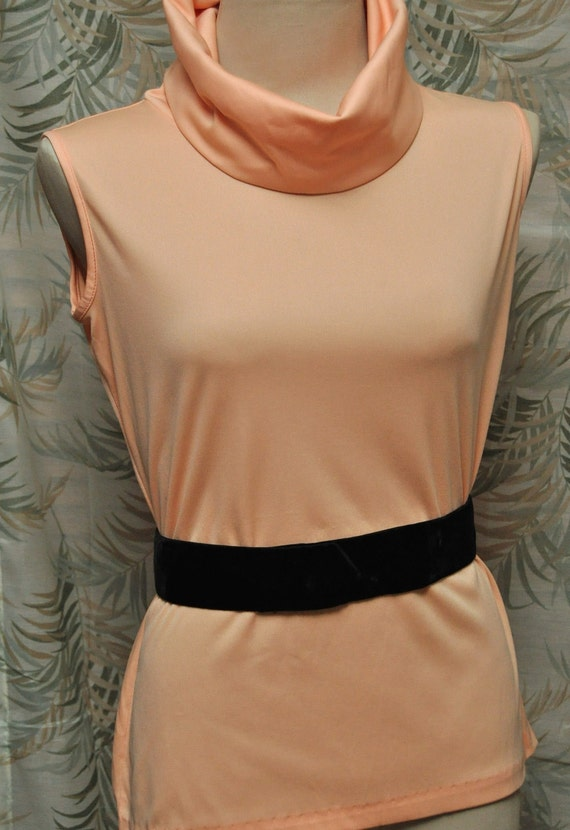 Cowl Neck 60s Knit Top Peach Mod Ladies Vintage