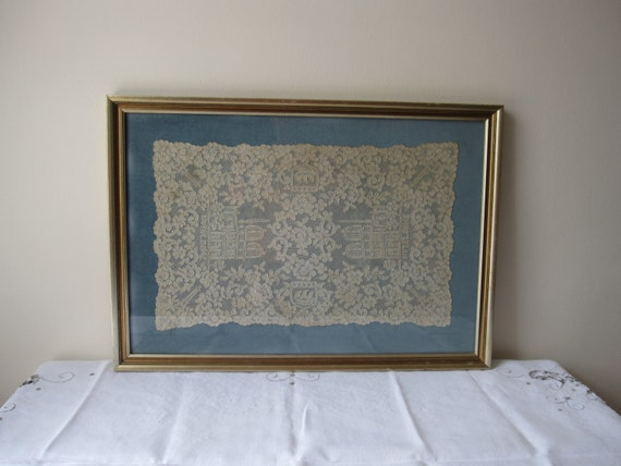 RESERVED framed vintage French alencon lace Paris Notre Dame Cathedral and Eiffel Tower