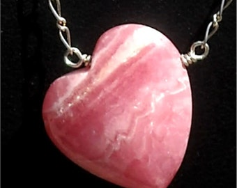 Beautiful Pink Rhodocrosite Heart and Sterling Silver Necklace