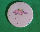 "Pink Hearts 3"" Pocket Mirror WIth full size glass mirror Made from Heart fabric"