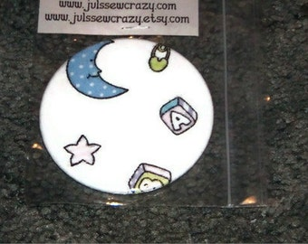 """Pocket Mirror Baby Theme made from Fabric 3"""" Large Glass Mirror"""